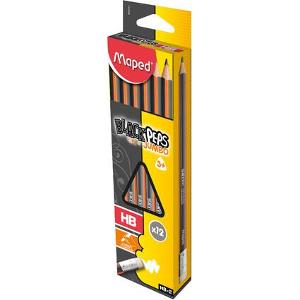 Maped Bleistift BLACK'PEPS JUMBO, mit Radierer, Härtegrad:HB