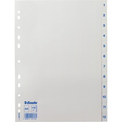 Esselte Kunststoff-Register, Zahlen, A4, 1-12, weiß
