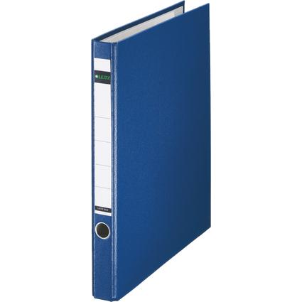 LEITZ Plastik-Ringordner, DIN A4, blau, 2 D-Ring-Mechanik