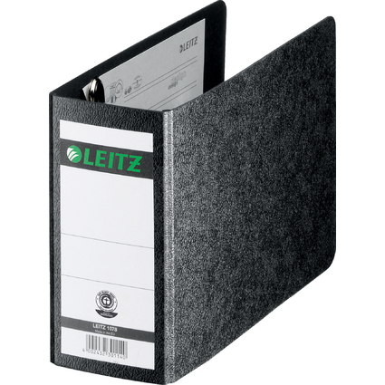LEITZ Hartpappe-Ordner, 180 Grad, DIN A6 quer, 75 mm,schwarz