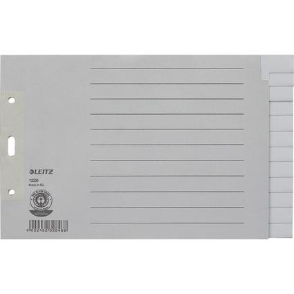 LEITZ Tauenpapier-Register, blanko, A5 quer, 12-teilig, grau