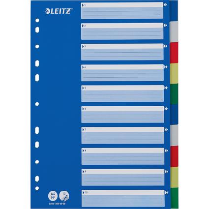 LEITZ Kunststoff-Register, blanko, A4, 10-teilig, farbig