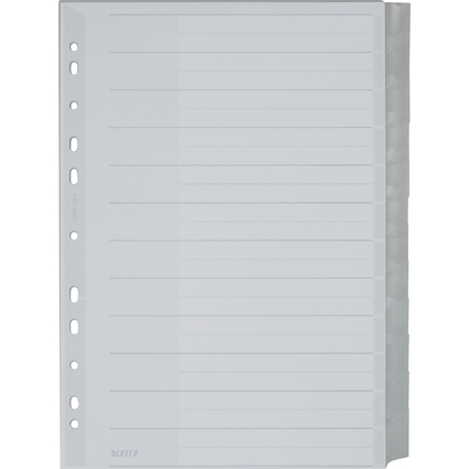 LEITZ Kunststoff-Register, blanko, A4 Überbreite, 12-teilig