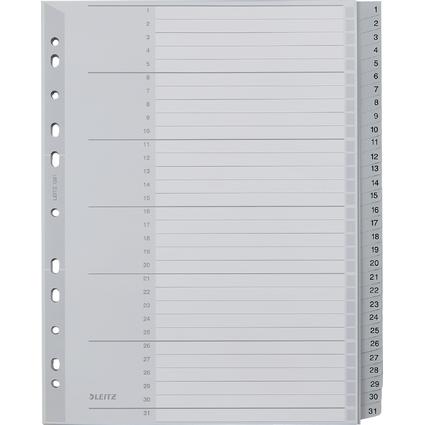 LEITZ Kunststoff-Register, Zahlen, A4 Überbreite, 1-31, grau