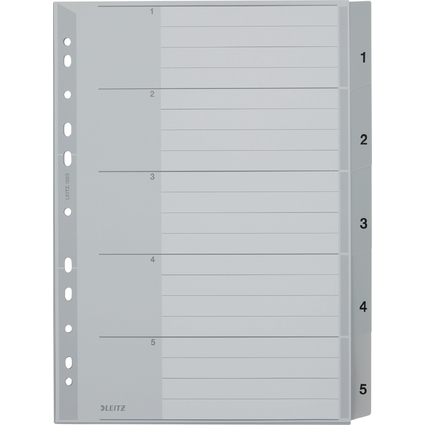 LEITZ Kunststoff-Register, Zahlen, A4 Überbreite, 1-5, grau