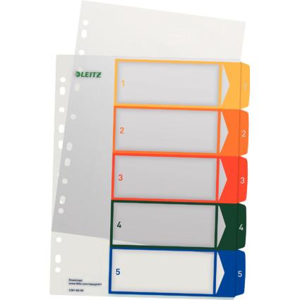 LEITZ Kunststoff-Register, Zahlen, A4 Überbreite, 1-5, PC-