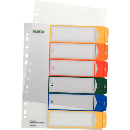 LEITZ Kunststoff-Register, Zahlen, A4 Überbreite, 1-6, PC-