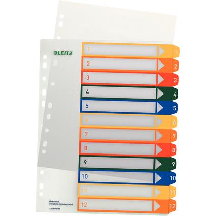 LEITZ Kunststoff-Register, Zahlen, A4 Überbreite, 1-12, PC-