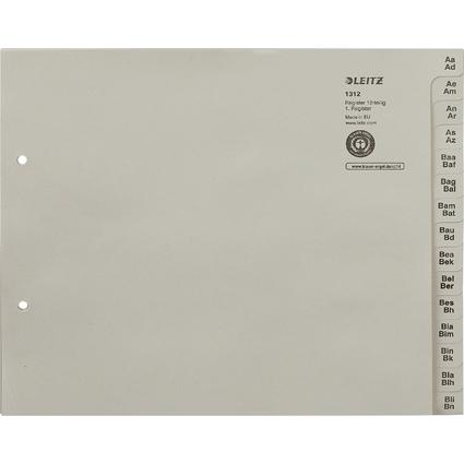 LEITZ Tauenpapier-Register, A-Z, für 12 Ordner, grau