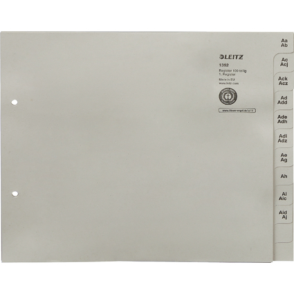 LEITZ Tauenpapier-Register, A-Z, für 100 Ordner, grau