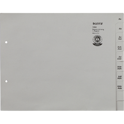 LEITZ Tauenpapier-Register, A-Z, für 200 Ordner,grau