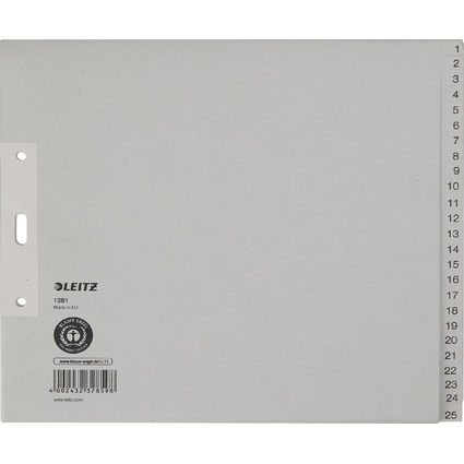 LEITZ Tauenpapier-Register, Zahlen, A4 Überbreite, 1-25,grau