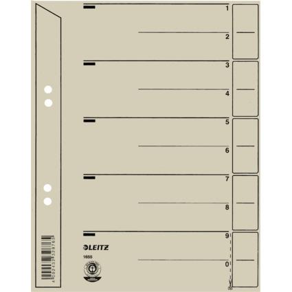 LEITZ Trennblätter, A5, Kraftkarton 200 g/wm, grau
