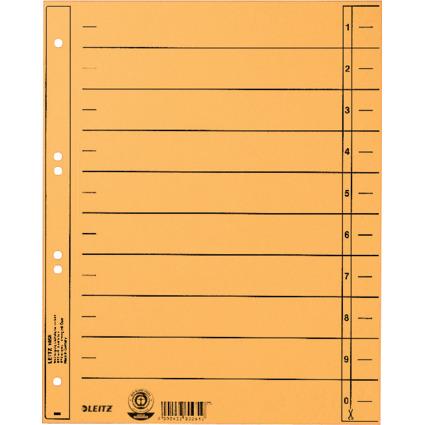 LEITZ Trennblätter, A4 Überbreite, Manilakarton 230g/qm,gelb