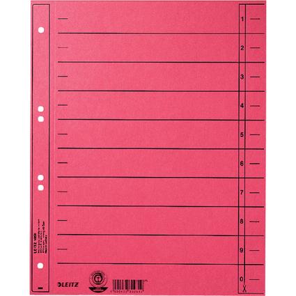 LEITZ Trennblätter, A4 Überbreite, Manilakarton 230g/qm, rot