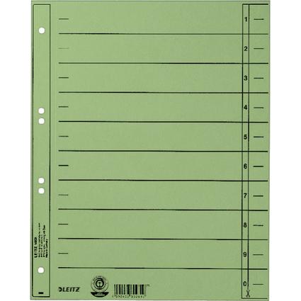 LEITZ Trennblätter, A4 Überbreite, Manilakarton 230g/qm,grün