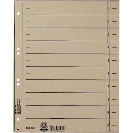LEITZ Trennblätter, A4 Überbreite, Manilakarton 230g/qm,grau