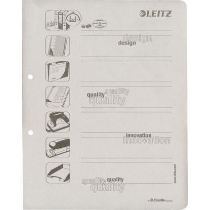LEITZ Ersatz-Deckblätter für Ordner DIN A4, grau, 160 g/qm