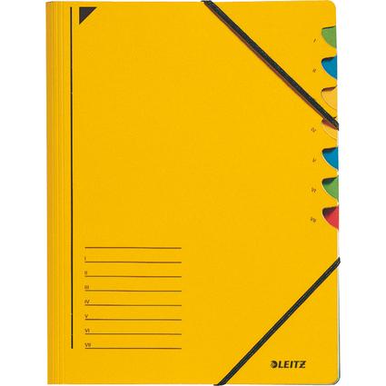 LEITZ Ordnungsmappe, DIN A4, Karton, 7 Fächer, gelb
