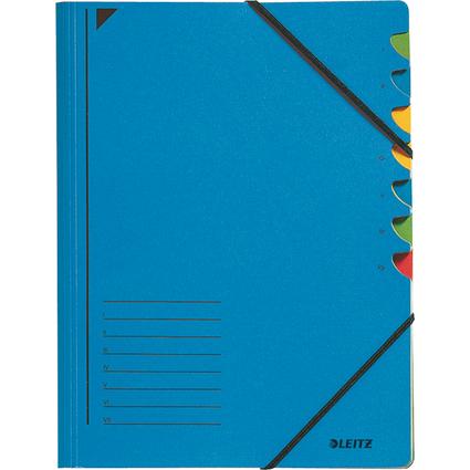 LEITZ Ordnungsmappe, DIN A4, Karton, 7 Fächer, blau