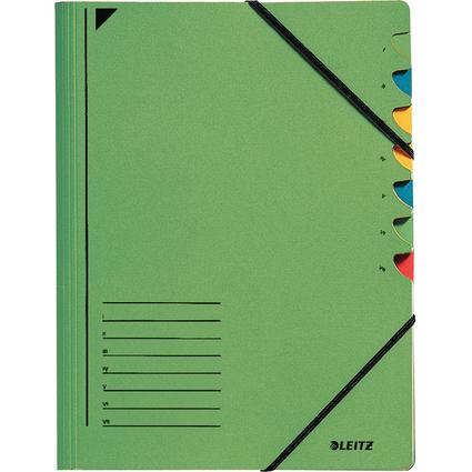 LEITZ Ordnungsmappe, DIN A4, Karton, 7 Fächer, grün