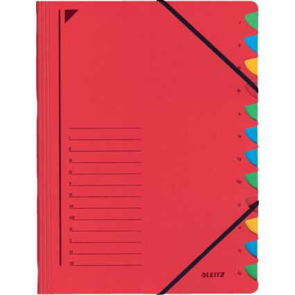 LEITZ Ordnungsmappe, DIN A4, Karton, 12 Fächer, rot