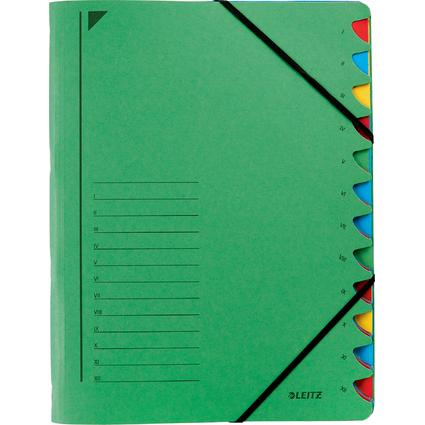 LEITZ Ordnungsmappe, DIN A4, Karton, 12 Fächer, grün