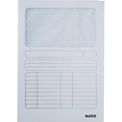 LEITZ Sichtmappe, DIN A4, Karton, mit Sichfenster, weiß