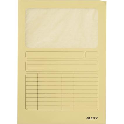LEITZ Sichtmappe, DIN A4, Karton, mit Sichtfenster, gelb