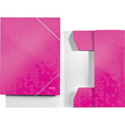 LEITZ Eckspannermappe WOW, DIN A4, Karton, pink-metallic