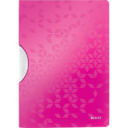LEITZ Klemmhefter WOW ColorClip, DIN A4, PP, pink-metallic