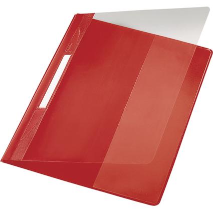 LEITZ Schnellhefter Exquisit, DIN A4 Überbreite, PVC, rot