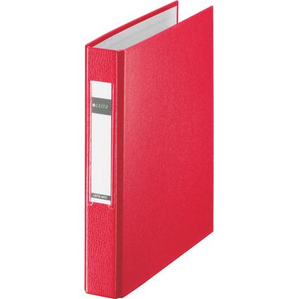 LEITZ Ringbuch Standard, DIN A5, rot, 2 D-Ring-Mechanik