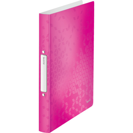 LEITZ Ringbuch WOW, DIN A4, PP, pink-metallic, 2 Ringe
