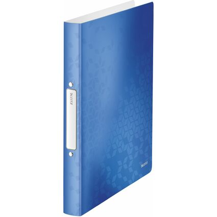LEITZ Ringbuch WOW, DIN A4, PP, blau-metallic, 2 Ringe