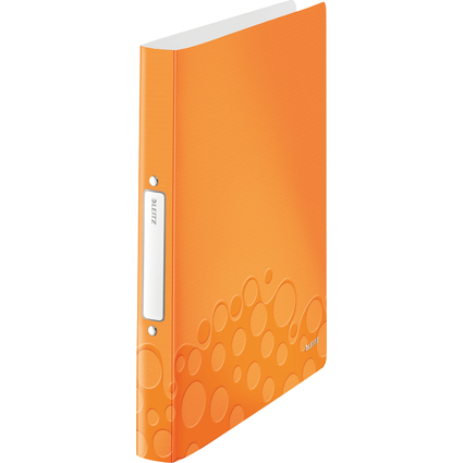 LEITZ Ringbuch WOW, DIN A4, PP, orange-metallic, 2 Ringe
