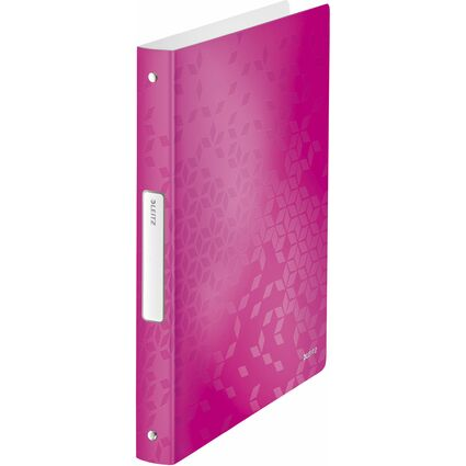 LEITZ Ringbuch WOW, DIN A4, PP, pink-metallic, 4 Ringe