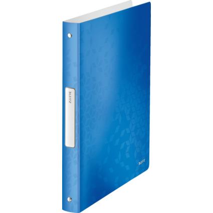 LEITZ Ringbuch WOW, DIN A4, PP, blau-metallic, 4 Ringe