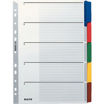 LEITZ Mylarkarton-Register, blanko, A4, 5-teilig, grau