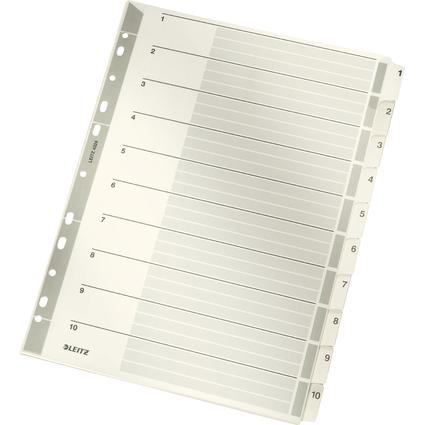 LEITZ Mylarkarton-Register, Zahlen, A4, 1-10, 10-teilig,grau