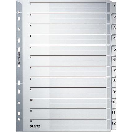 LEITZ Mylarkarton-Register, Zahlen, A4, 1-12, 12-teilig,grau