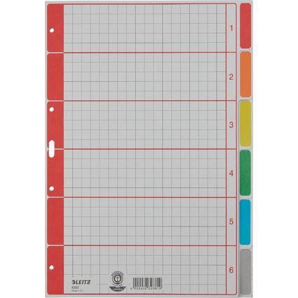 LEITZ Karton-Register extrastark, blanko, A4, 6-teilig, grau
