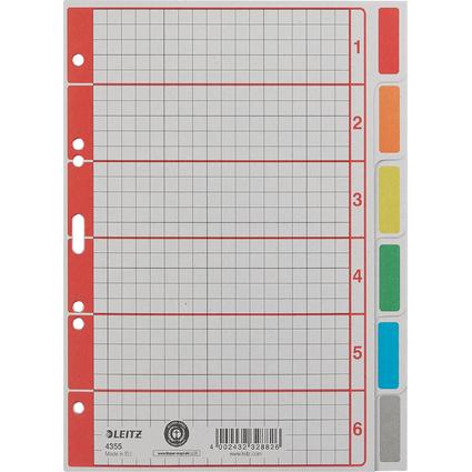 LEITZ Karton-Register extrastark, blanko, A5, 6-teilig, grau