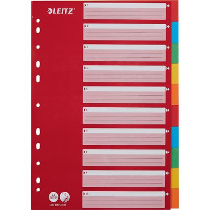 LEITZ Karton-Register, blanko, A4, 10-teilig, mehrfarbig