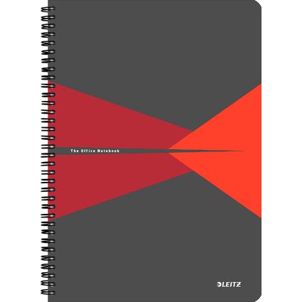 """LEITZ Collegeblock """"Office"""", DIN A4, liniert, 90 Blatt, rot"""