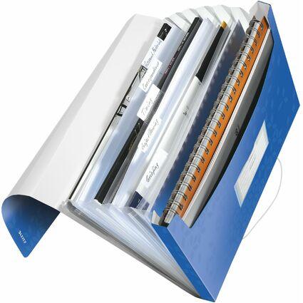 LEITZ Projektmappe WOW, A4, PP, 6 Fächer, blau-metallic