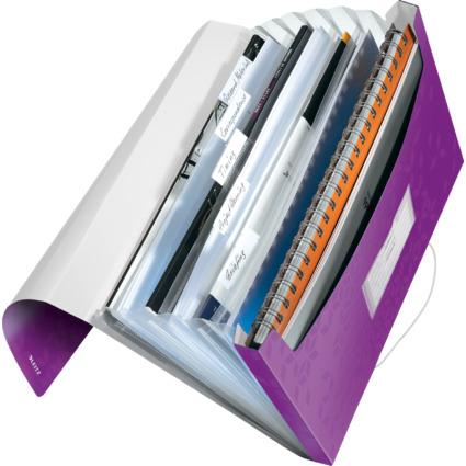 LEITZ Projektmappe WOW, A4, PP, 6 Fächer, violett