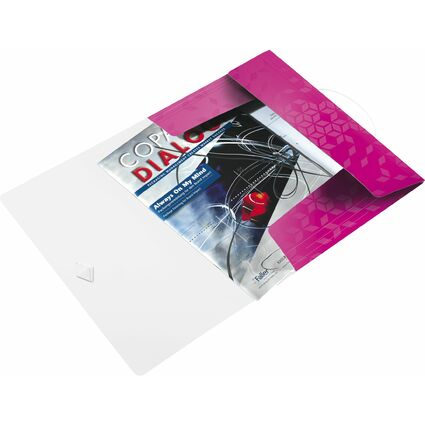LEITZ Eckspannermappe WOW, DIN A4, PP, pink-metallic