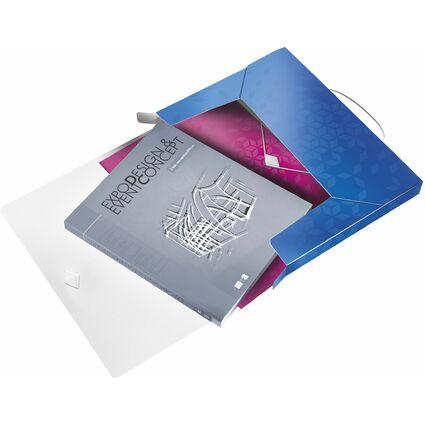 LEITZ Ablagebox WOW, DIN A4, PP, blau-metallic