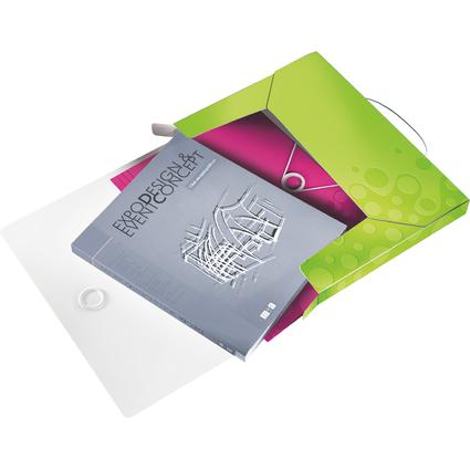 LEITZ Ablagebox WOW, DIN A4, PP, grün-metallic